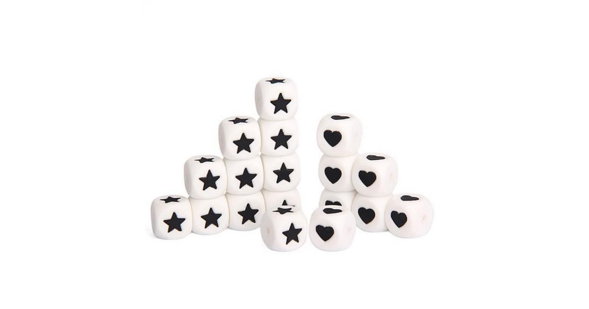 Perles étoiles coeur silicone