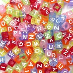 perles acrylique multi couleur lettre