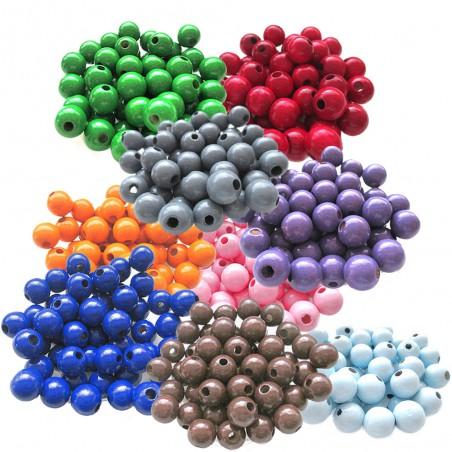 perles bois ronde 10mm lot 30