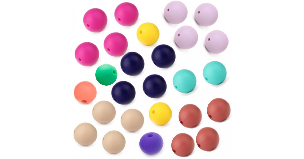 perles rondes silicone 15mm lot