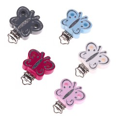 clip bois forme papillon