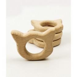 anneau dentition bois modèle chat