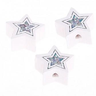 Perles étoiles pailletées blanc