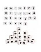 Perles lettres silicone et dés silicone